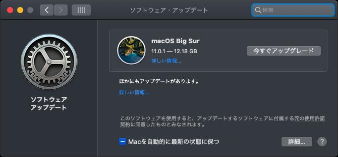 【検証】MacOS Big Sur 11.0.1を入れてみました